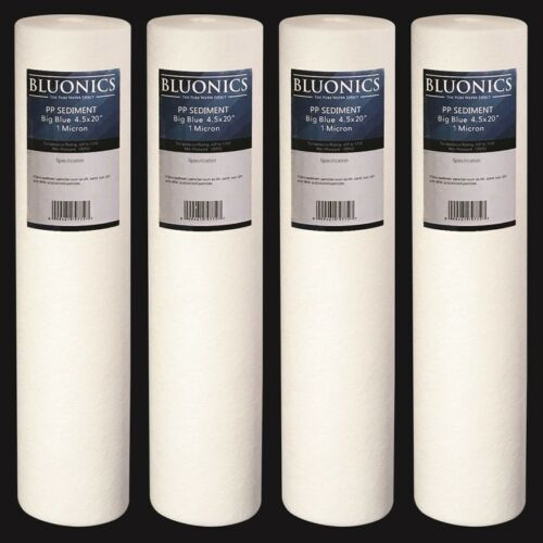 "4.5"" x 20"" Big Blue Sediment Water Filters (1 Micron) 4 Whole House Cardridges"