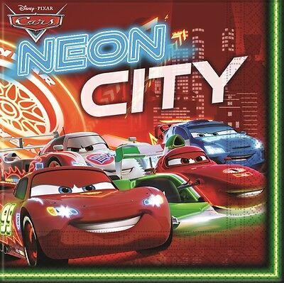 Cars Neon City 33cm Party Paper Napkins Serviettes Tissues - Party City Neon