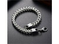 Stainless Steel Silverly Bracelets Bali Foxtail Chain Bracelet Male Jewelry 19cm
