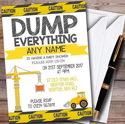 Dump Everything Digger Construction Personalised Baby Shower - Everything Baby Shower