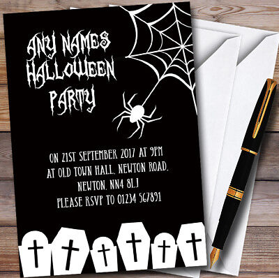 Black And White Halloween Invitations (Black & White Spider web Personalised Halloween Party)