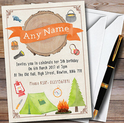 Log Watercolour Camping Bonfire Personalised Childrens Party Invitations](Bonfire Invitations)