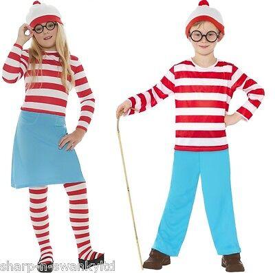 Jungen Mädchen Kinder Where's Wally Waldo Büchertag Kostüm Kleid Outfit 4-1