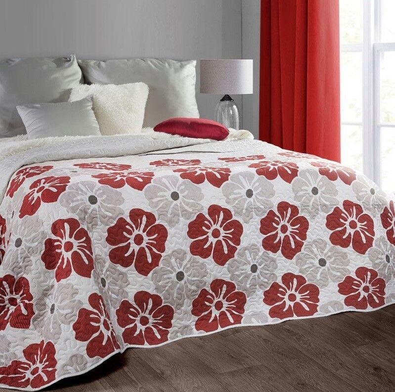 Dekorative Tagesdecke Beige Blumenmuster Bettüberwurf Steppdecke 170x210 220x240