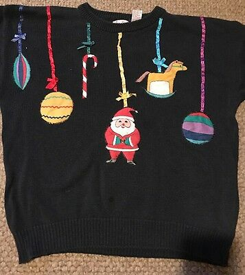 VINTAGE VERY UGLY CHRISTMAS SWEATER WIN THE OFFICE PRIZE HAND MADE WOMEN L SANTA - Ugly Sweater Prizes