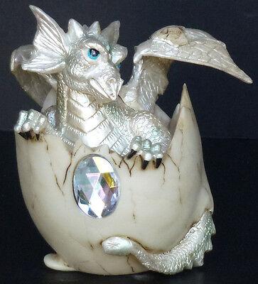 "MOONSTONE  JUNE     Birthstone Dragon in Egg Shell    4""   Figure Statue"
