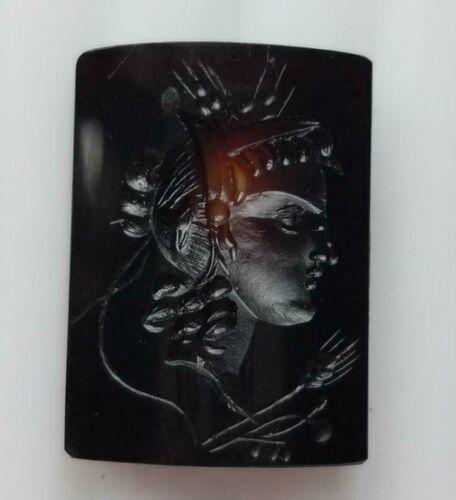 "Vintage Carved Carnelian Intaglio, ""Hera"", Rectangle 20x 19mm,7.35TCW, #25-19B"