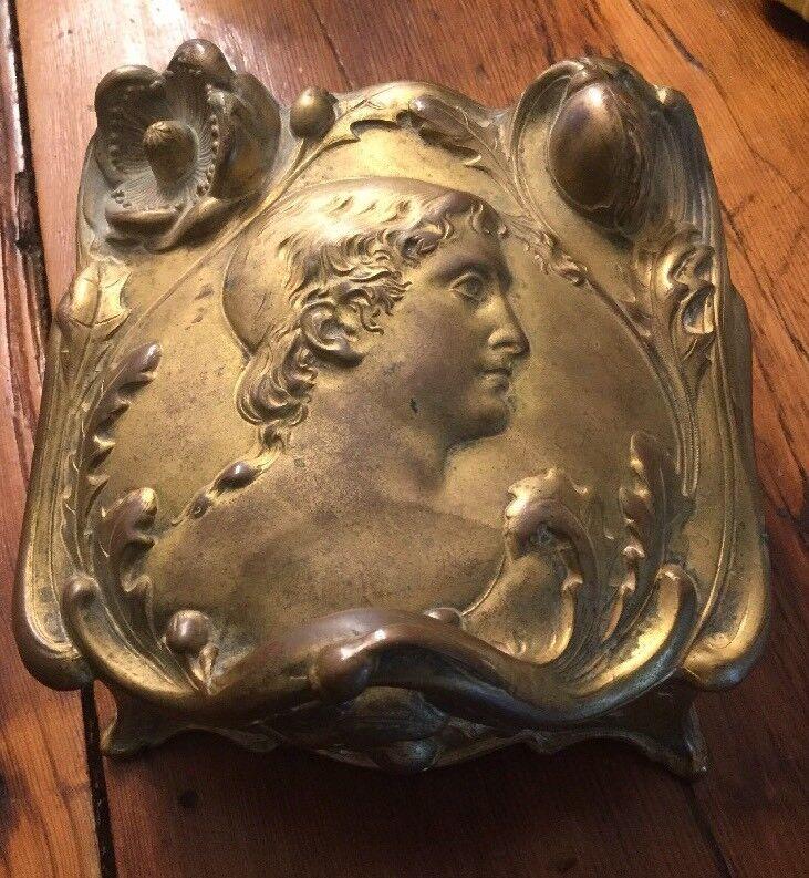 LARGE Weidlich Bro. Figural Jewelry Box Casket Art Nouveau RARE ONE