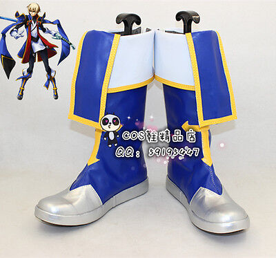 BlazBlue Jin Kisaragi Blue Halloween Cosplay Shoes Boots X002