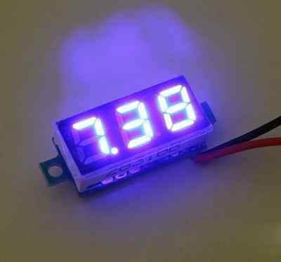 Mini 0.28 Dc Digital Volt Meter Panel Mount Led Voltage 2.50-30v 12v Red Blue