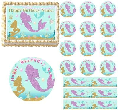 Purple and Gold Mermaids Under The Sea EDIBLE Cake Topper Image Cupcakes - Under The Sea Cake
