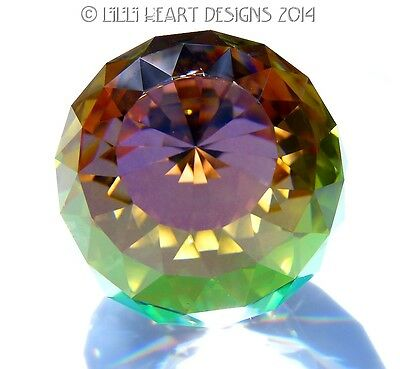 "Swarovski Crystal RARE 2"" Vitrail Medium Peacock Paperweight Lilli Heart Designs"