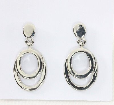 Casual Silver Tone Earrings (Post Earrings Classic Tailored Silver Tone Oval Smooth Drop Business Casual)