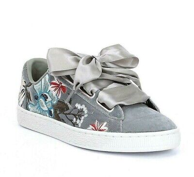 Puma Basket Heart Hyper Embroidery Gray 366116 03 Womens Casual Shoes