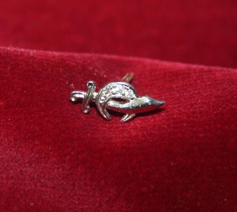 Vintage Tie Tack Shriners Pin Sterling Silver Anson Diamonds Sword Masonic Mason