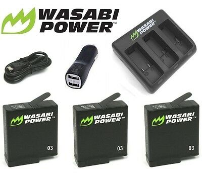 Wasabi Power GoPro HERO 5 6 2018 Kit x 3 Batteries + Triple USB Charger Go Pro