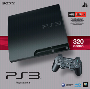 Ps3 console w controller and games shown