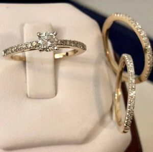14k yellow gold diamond engagement ring set *Appraised at $4,800