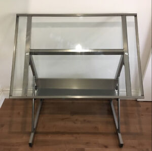 Glass & Steel Drafting Table
