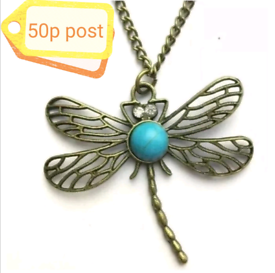 Jewellery Accessory Women's Necklace Chain Bronze Dragonfly Turquoise