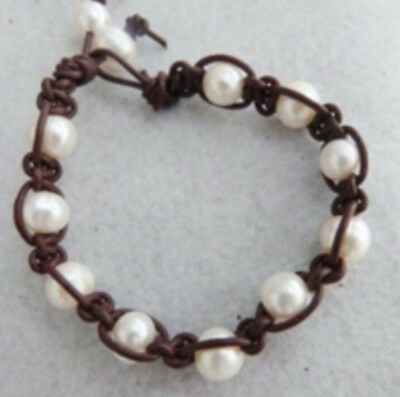 Brown Leather Cord Bracelet - 9-10mm freshwater pearl Braided Genuine Dark brown  Leather Cord Bracelet