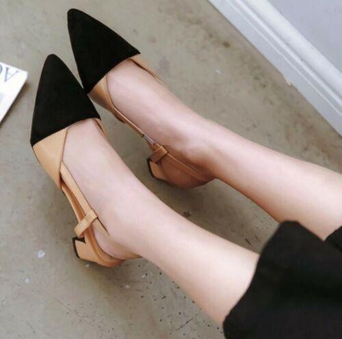 Elegant Women's Low Heel Pointy Toe Slingbacks Formal Sandal
