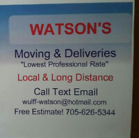 "WATSON'S MOVING &DELIVERY ""lowest professional rates"""