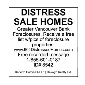 *FREE LIST* OF DISTRESSED, BANK FORECLOSURE, ESTATE SALE HOMES