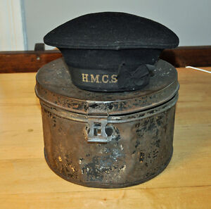 H.M.C.S. Seaman's Hat & Tin Hat Box
