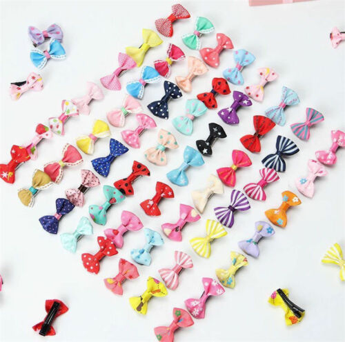 10/20Pcs Kids Baby Girl's Bow Ribbon Hair Bow Mini Latch Clips Hair Clip Hairpin