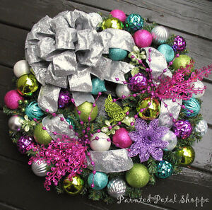 Teal/Magenta/Lime/Silver Christmas Wreath/Holiday Wreath