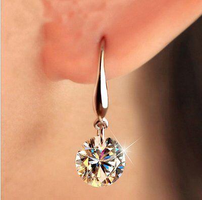 Elegant Zirconia Bridesmaid Stud Drop Crystal Earrings Silver Ear Hook Prom Gift