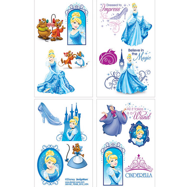 CINDERELLA PARTY SUPPLIES 1 SHEET OF 16 TATTOOS ( 8 SECTIONS CUT IN TO 16 )