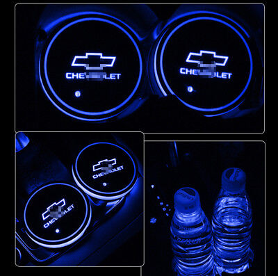 2PCS Colorful LED Car Cup Holder Pad Mat for Chevrolet Auto Atmosphere Lights