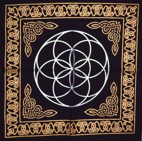 """Seed Of Life Altar Cloth 18"""" x 18"""" Wiccan Witchcraft Supply Store"""