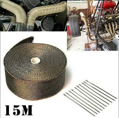 Titanium Heat WRAP 15M + 10 Ties 30CM Exhaust Insulating Downpipe Manifold RAP