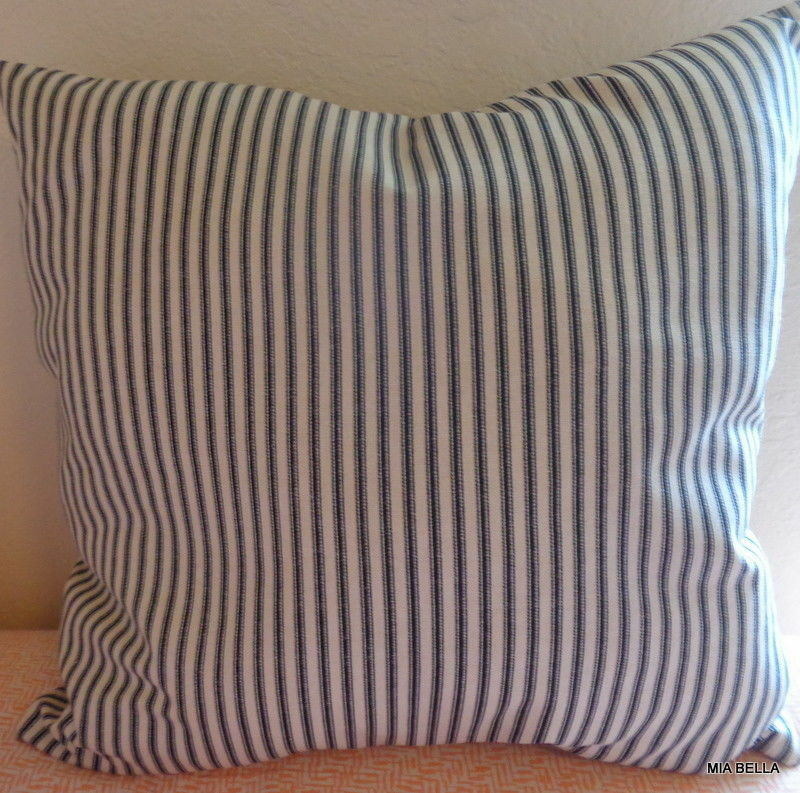 Black Ticking Stripe Throw Pillow    Farmhouse County Chic S