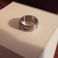 Tribal Art Surgical Steel Spinner Ring Size 10