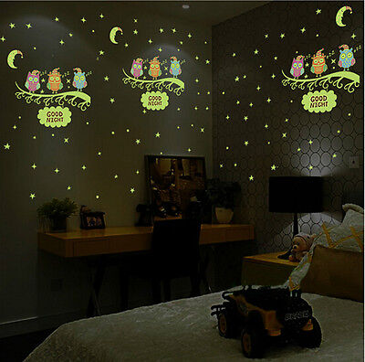 Removable Glow In The Dark Luminous Fluorescent Owl Wall Stickers Kids Bedroom