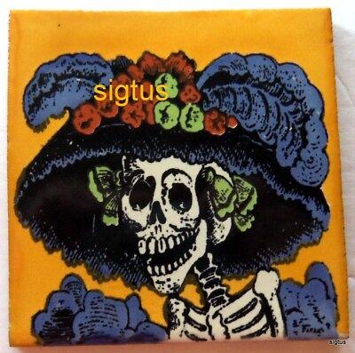 Dia De Los Muertos Katrina (Dia de Los Muertos~Day of the Dead 4 x 4 GOLDEN YELLOW KATRINA tiles Version)