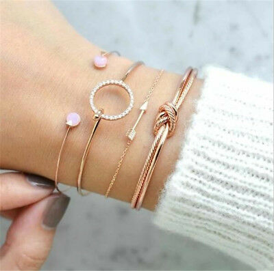 4Pcs/Set Ladies Gold Arrow Knot Crystal Round Opening Bangle Chain Bracelet New