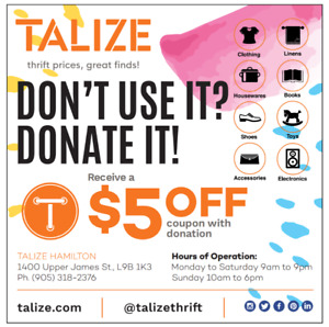 DONATE TO TALIZE FOR $5 OFF*