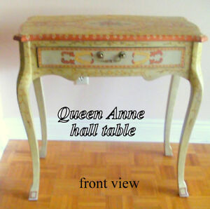 Decorated Queen Anne style Hall Table/Desk, excellent condition,