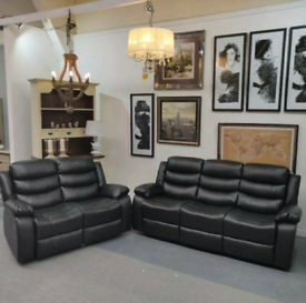 NEW 3+2 Black Sorrento Leather Recliners Sofas With Cupholders