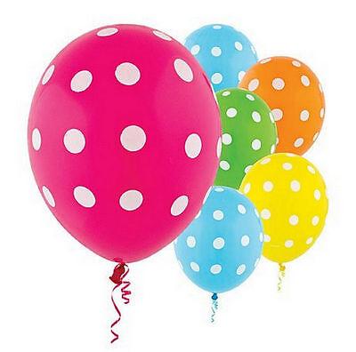 PACK 20 BRIGHT POLKA DOT LATEX BALLOONS PARTY DECORATIONS PINK GREEN BLUE ORANGE](Green Polka Dot Balloons)