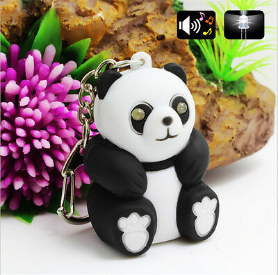 Panda Keychain Toys With LED Light And Cute Sound Glowing Pendant Dolls Gift