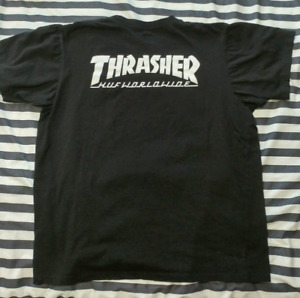 THRASHER X HUF Tee in black size Large