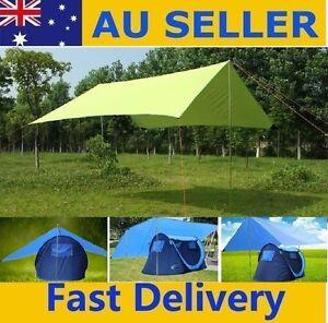 3mx3m UV Protect Waterproof Tarp Sun Shelter Shade Awning Camping Roof Top Blue