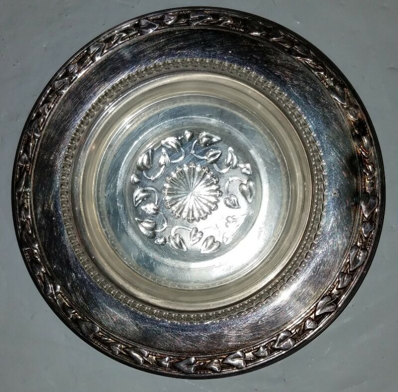 Meadowbrook Wm A. Rogers silver plate and glass dish