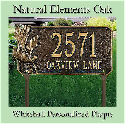 Whitehall Natural Elements Oak Personalized Plaque Address Sign Wall OR Lawn - Lawn Sign